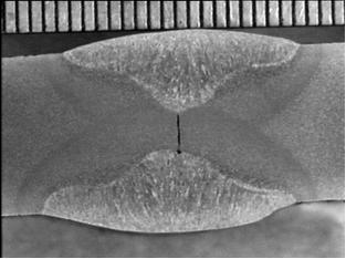 Falta de penetración en unión a tope por ambos lados