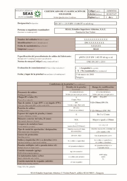 certificado homologacion soldadura SEAS