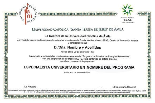 Ejemplo de diploma de Especialista