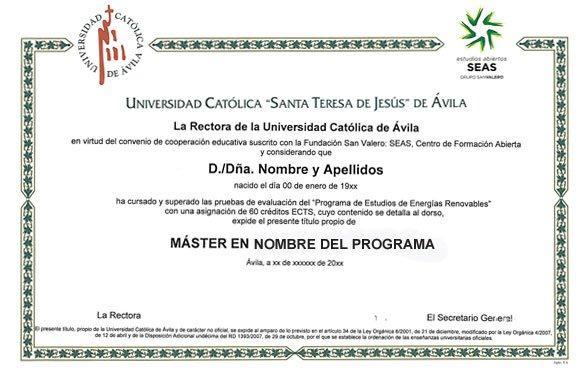 Ejemplo diploma Máster SEAS